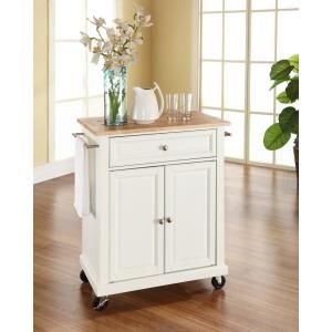Crosley White Kitchen Cart With Natural Wood Top-KF30021EWH - The Home Depot