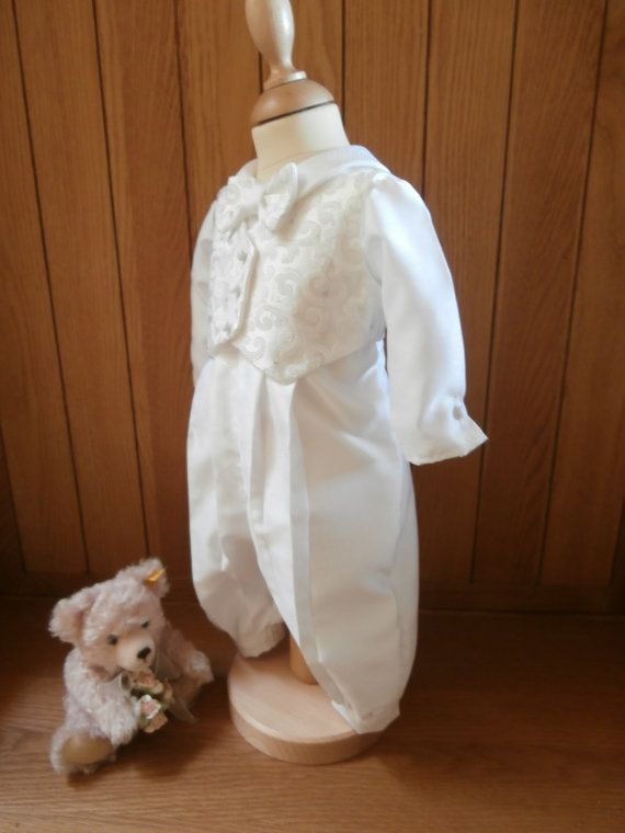 Boys Christening Baptism Wedding Waistcoat vest Romper Suit Gown Outfit and hat Handmade
