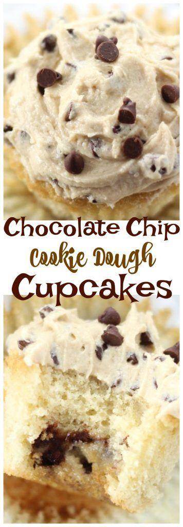 The Gold Lining Girl | Chocolate Chip Cookie Cupcakes with Cookie Dough Frosting | http://thegoldlininggirl.com