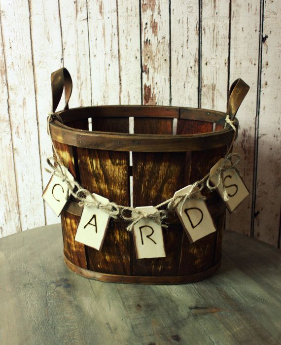 cute idea.  Rustic barrel wedding card holderWestern by MorganTheCreator, $40.00