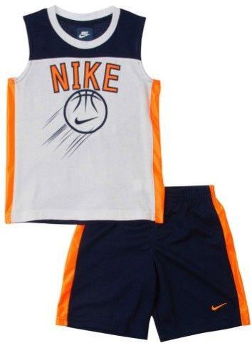 Nike Toddler & Little Boys Blue & Orange Tank Top & Shorts Muscle Shirt Set 2T