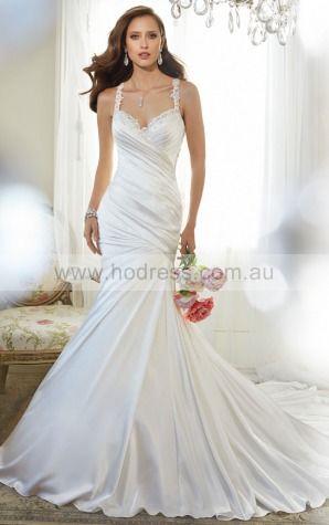 Princess Sleeveless Spaghetti Straps Yarn Floor-length Wedding Dresses feaf1017--Hodress