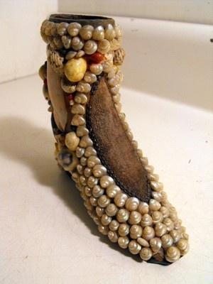 Antique Victorian Sailor's Valentine Seashell Folk Art Boot Pin Cushion C1900 | eBay