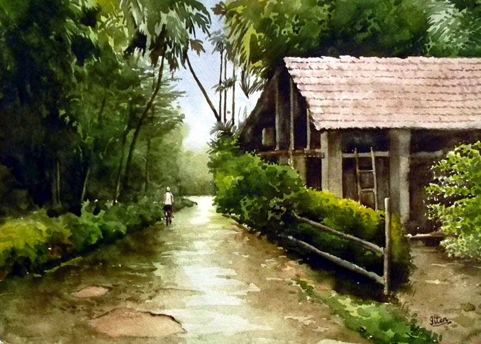 Just Rainedby Jitendra Sule Paintings Indian Artists