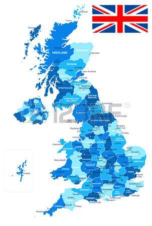 Mapa de Gran Bretaña y la bandera - muy detallada ilustración vectorial. La imagen contiene los contornos del terreno, nombres de países y de la tierra, nombres de ciudades, nombres de objetos, agua bandera.
