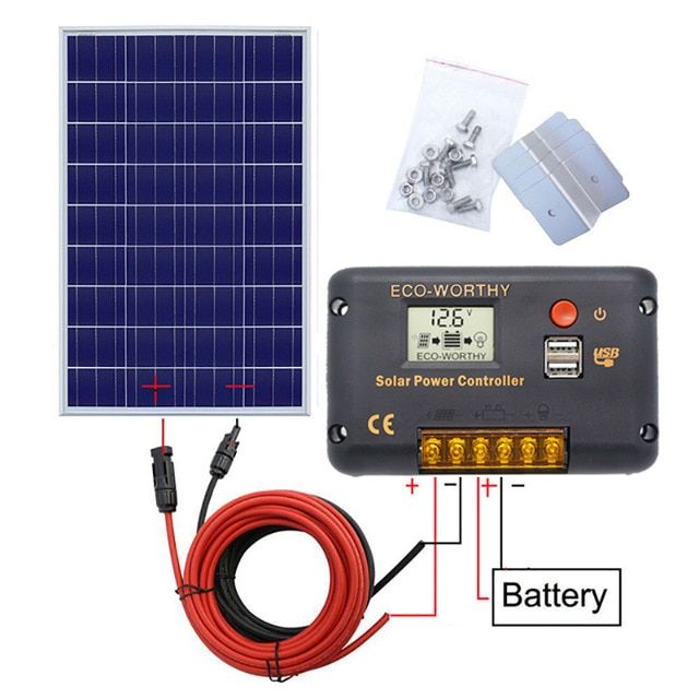 120w 18v Solar Power Panel System 120w Poly Panel With 20a Controller With 5m Black And Red Mc4 Wires For 12v Battery Solar Power Panels Solar Kit Solar Power