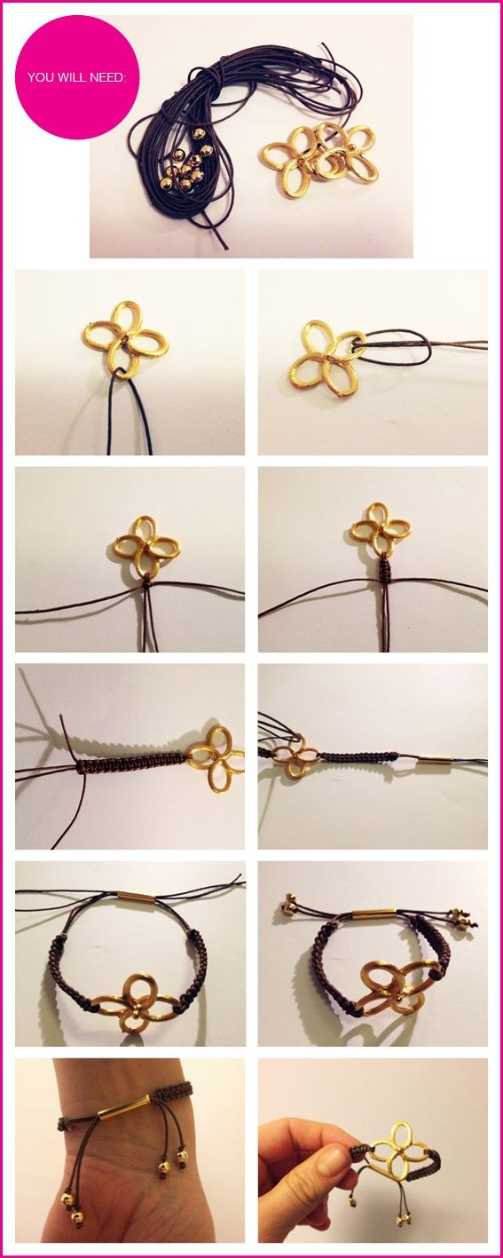 19 DIY Fashion Projects, DIY Gold Clover Bracelets