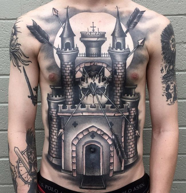 Castle & Skull | Best tattoo ideas & designs