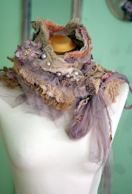 Fleurbonheur RESERVED for SUSAN    Romantic shawlette can be worn as shrug and is made in shades of cream, salmon, pale peach, caramel, mauve..Made of nuno