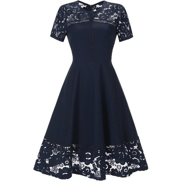 Holiday Party Cocktail Dresses Part - 47: SYLVIEY Womens Vintage Lace Crochet Casual Navy Evening Party Cocktail...  (u20ac21