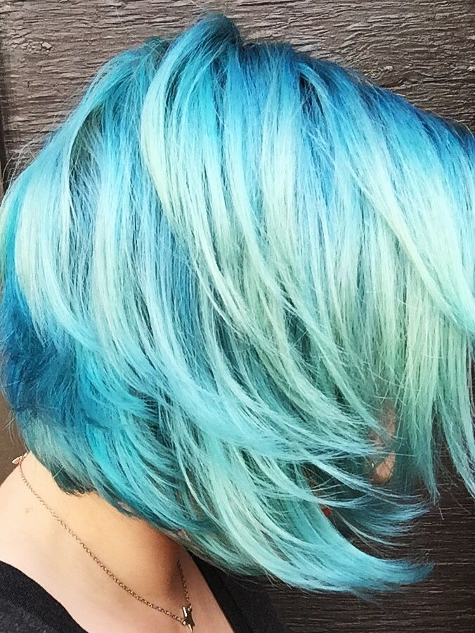 "faiteach: "" From pale mint hair, applied manic panic blue steel, voodoo blue and siren song to roots, 1 hr. Rinsed and applied manic panic blue steel and pravana silver all over for 1.5 hrs. Plus a..."