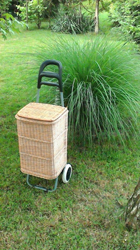 Wicker Shopping Trolley, Wicker Shopping Basket Trolley, Willow Shopping Basket…