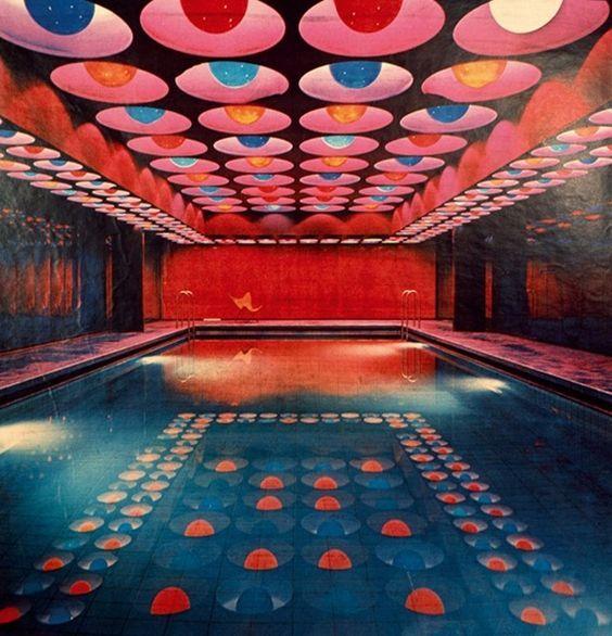 #Luna2Loves Verner Panton's 'Neon' swimming pool at Spiegel Publishing House buildings in Hamburg 1969.   #Luna2Nostalgia #Luna2Life #Luna2studiotel #Luna2 #Seminyak  #Bali  #Hamburg #interior #design #neon #swimming #pool #inspiration #VernerPanton #60s