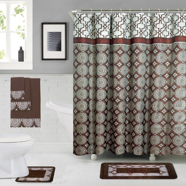 Enno 6 Piece Bath Set Hooks With Images Shower Curtain Sets