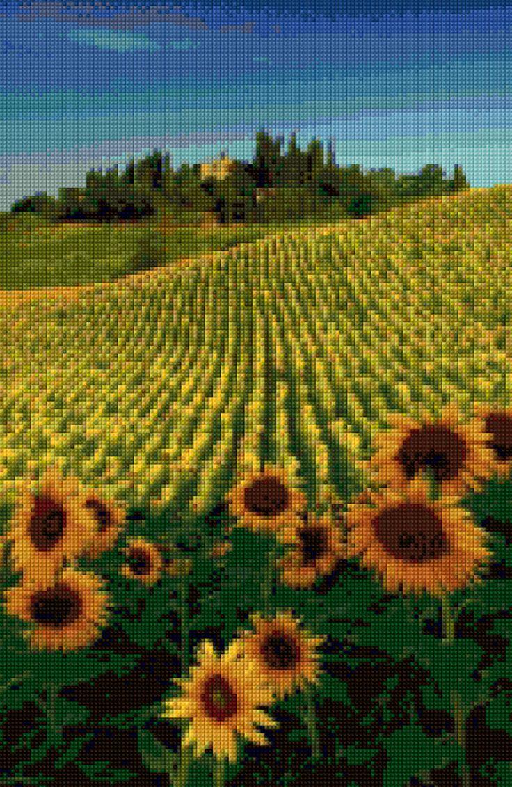 Tuscany Sunflowers Landscape Cross Stitch pattern PDF - Instant Download! by…