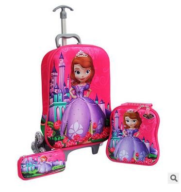 3D Kid's Travel Trolley Case kids Luggage suitcase Trolley bag with wheel Rolling Backpack School Bag wheeled backpack for kids