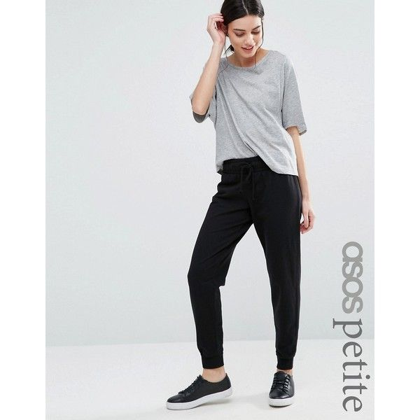 ASOS PETITE LOUNGE Jogger ($25) ❤ liked on Polyvore featuring activewear, activewear pants, black, petite, asos, petite activewear, petite sportswear and petite activewear pants