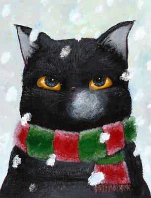 Winter2010 Chiezoh, Cat Art, Art Illustrations, Black Winter, Cat Illustration, Christmas Trees, Black Cat, Artsy Cat, Winter Cat