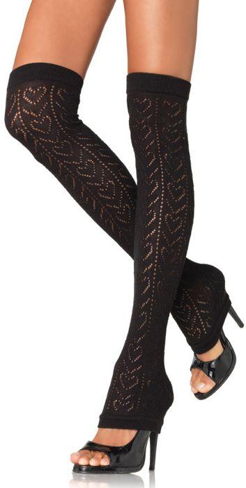 Crochet Heart Pattern Thigh High Black Leg Warmers