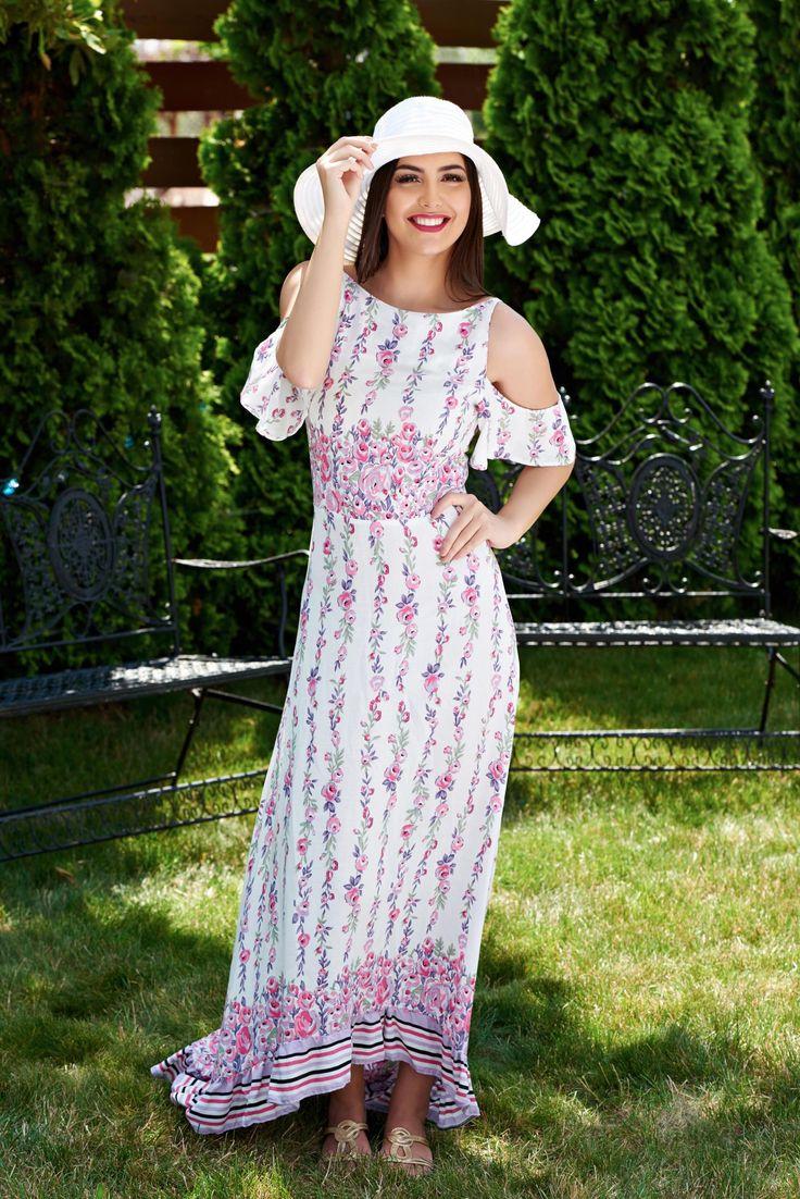 Rochie StarShinerS Cheerful White. Rochie maxi, de vara extrem de vaporoasa din vascoza, material cu imprimeu potrivit pentru sezonul cald.…