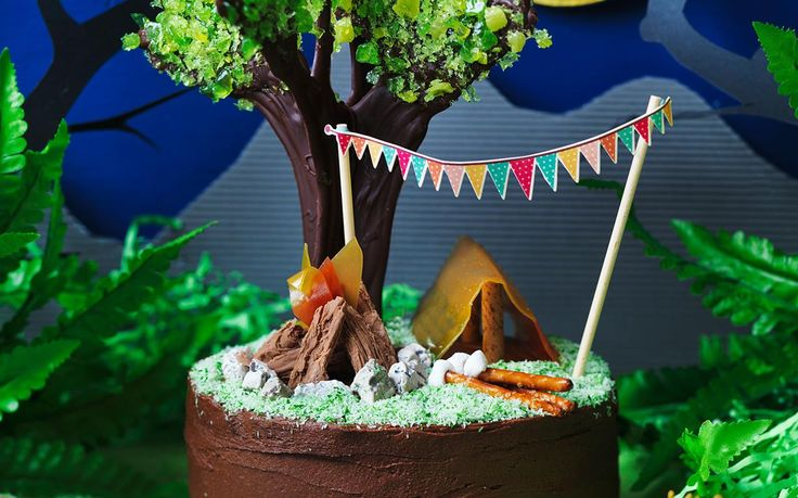 A night in the forest! A cool camping themed birthday cake for a outdoorsy camper.