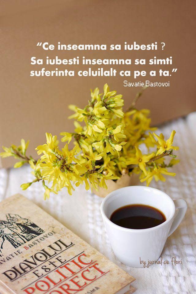 """citat savatie bastovoi ce este iubirea din cartea """"... este politic corect"""" - flori galbene forsitia de primavara ceasca cafea"""