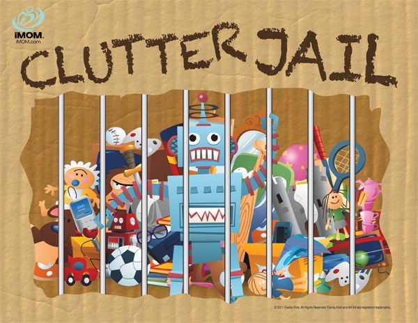 Clutter Jail. If the kids leave it out, it goes in the clutter jail and they have to draw a card out of the community chest and complete the task to get their stuff back. Free printables! So doing this. Great way to teach responsibility.  This beats threatening to throw away the toys :)