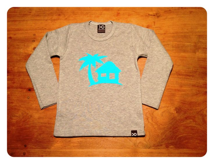 The grey tee with the paradise house in a light blue flock print
