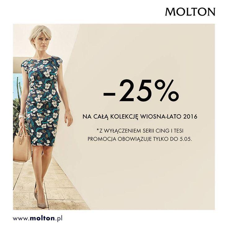ЗНИЖКА в Molton Довгі вихідні - це те що ми любимо найбільше Смайлик «smile»  Усі пані, які хочути використати цей час на справжні приємності - запрошуємо в салон MOLTON. Тільки зараз одяг з колекції весна-літо 2016 можна купити зі знижкою аж 25%. (Акція діє до 5.05.2016) http://molton.pl/ Салон в ТРЦ Мілленіум Холл http://milleniumhall.pl/
