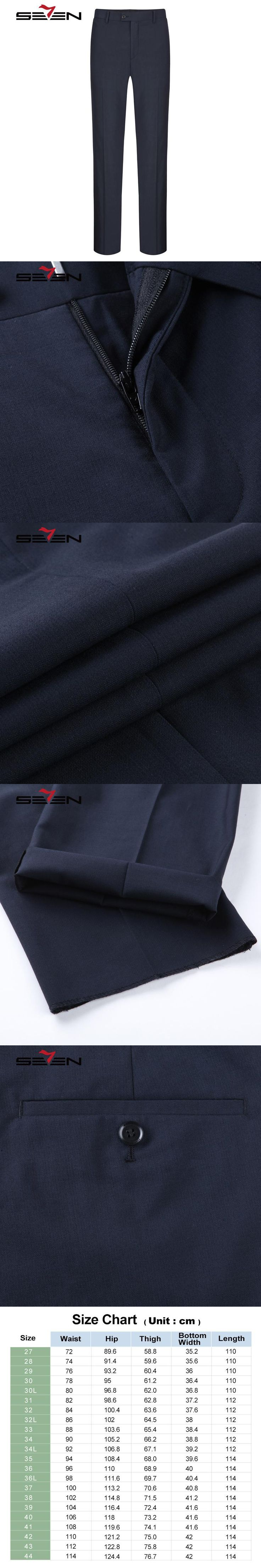 Seven7 Brand Men Suit Pants Wool Wedding pant Blended Solid Long Dress Pants Regular Fit Classic Business Formal Pants 112B70070