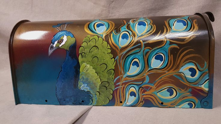 Mailbox Peacock hand painted mailboxes post mount by gonepostal09 on Etsy