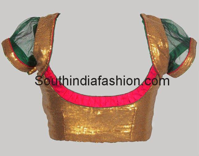 Readymade Gold Sequins Blouse Celebrity Sarees, Designer Sarees, Bridal Sarees, Latest Blouse Designs 2014 South India Fashion