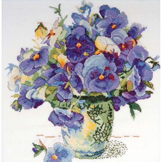 14x14 14ct-pansy Floral Ccx, , hi-res