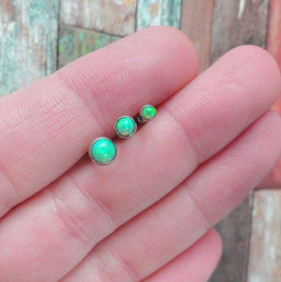 Light Peridot Green Opal Stud Cartilage Earring by MidnightsMojo.   Probably 2nd stone