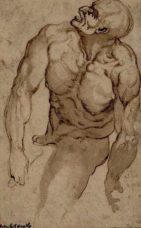 Anonym nach Michelangelo, Auf seinem angewinkelten linken Bein nach links liegender muskulöser männlicher Akt © Albertina, Wien  #Michelangelo #Renaissance #Drawing #GraphicArt #GraphicCollection #Masterpiece