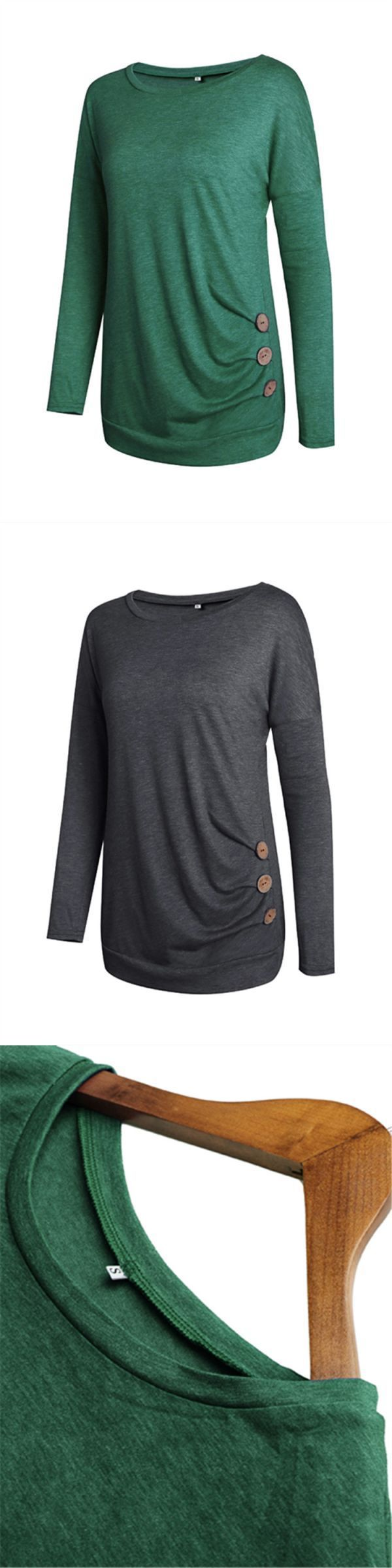 T shirt lost girl casual women long sleeve solid color t-shirt with button design #baby #girl #t #shirts #uk #eddie #bauer #womens #t #shirts #t #shirt #its #a #girl #womens #band #t #shirts