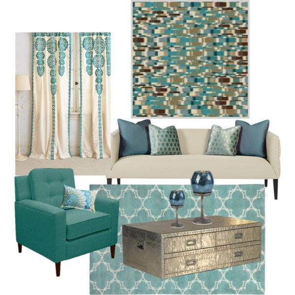 247 best images about polyvore project decorate on for Aqua blue living room ideas