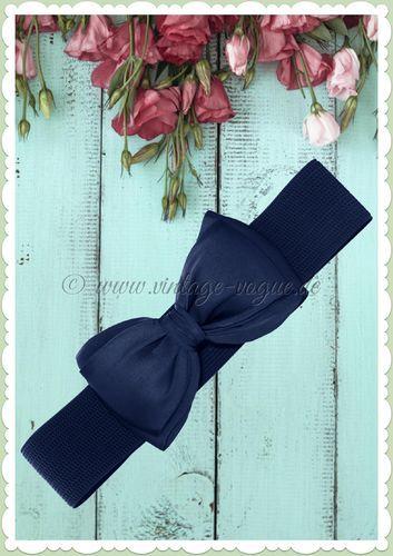 Banned 40er Jahre Vintage Pin Up Satin Schleife Taillen Gürtel Navy Blau