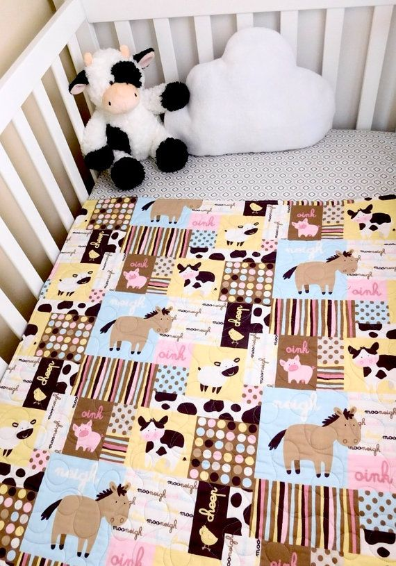 Baby Quilt farm animals baby quilts barn by BabyQuiltsbyRomiW