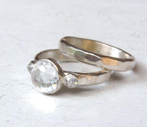 Anillo de compromiso conjunto y anillo anillo de por OritNaar, $125.00