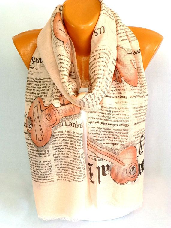 Newspaper print Scarf, Scarves, Shawl, Scarf, Newspaper Printed infinity scarf, Womens Accessories, Lightweight Summer Scarf, Gift for her
