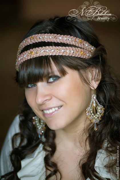 Tiaras, hoops handmade.  Fair Masters - handmade.  Buy Dual Greek dressing hair and crystal earrings.  Handmade.