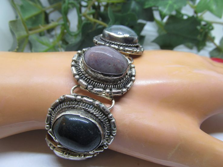 Vintage Mexican Silver Handmade Link Panel Bracelet Featuring Gorgeous Multi Colored Cabochon Cameo Set Stones Ladies Agate Stone Bracelet