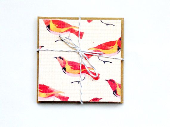 folded note card set. birds. 5pak by magdalenarose on Etsy, $4.00