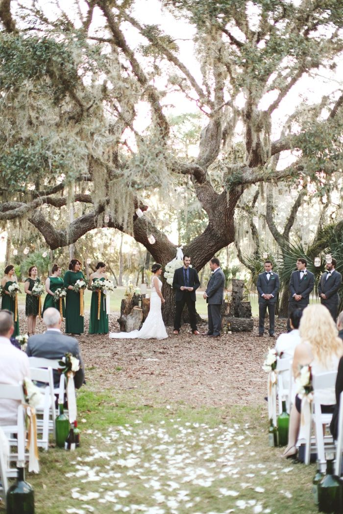 ceremony under an old oak tree   ocala florida golf country club outdoor wedding photography