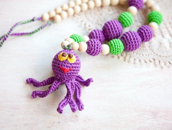 Crochet nursing necklace  Octopus  nursing necklace  toy by bysiki, $38.00