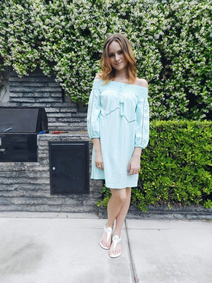 #ashleysoutfits   Instagram: ashleyrouse 94     Summer off the shoulder dress from target light blue boho dress white sandals for Rainbow clothing store summer ootd outfit of the day