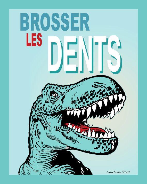 Description: Cette impression est dune oeuvre originale de Chris Brown. Copie de (brosse à dents votre en FRANÇAIS, «Brosser Les Dents»). Quelle meilleure façon de convaincre les enfants se pour brosser les dents que Mr T-Rex, qui a des dents 1 million! ________________________  ** IMPRIMER SEULEMENT ** (Cadre ou tapis non inclus) ________________________  Taille : 8 « x 10 » (20.32 cm x 25.40 cm) avec petite bordure blanche pour lencadrement. Sadapte à un cadre standard 8 « x 10 »…