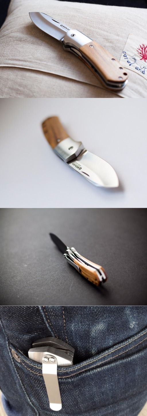 BOKER TREE BRAND Olive Wood Arctos 42 Liner Lock Stainless EDC Folding Pocket Knife Knife - Everyday Carry Gear