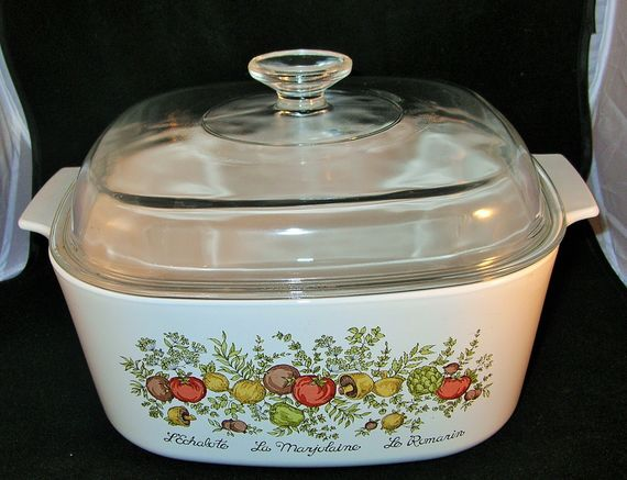 CorningWare Dutch Oven  Spice of Life  4 qt.  domed lid  10 x 10 x 3 1/2  Produced between 1972 - 1987  Very lightly gently used.